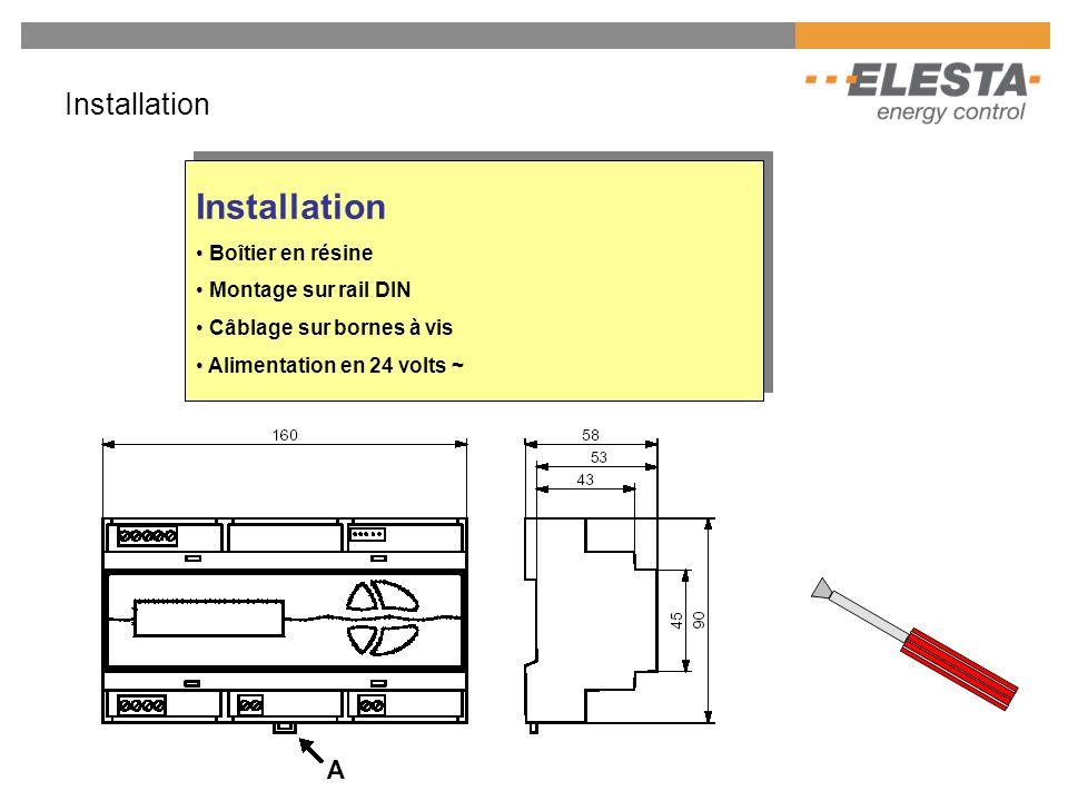 Installation Installation Boîtier en résine Montage sur rail DIN