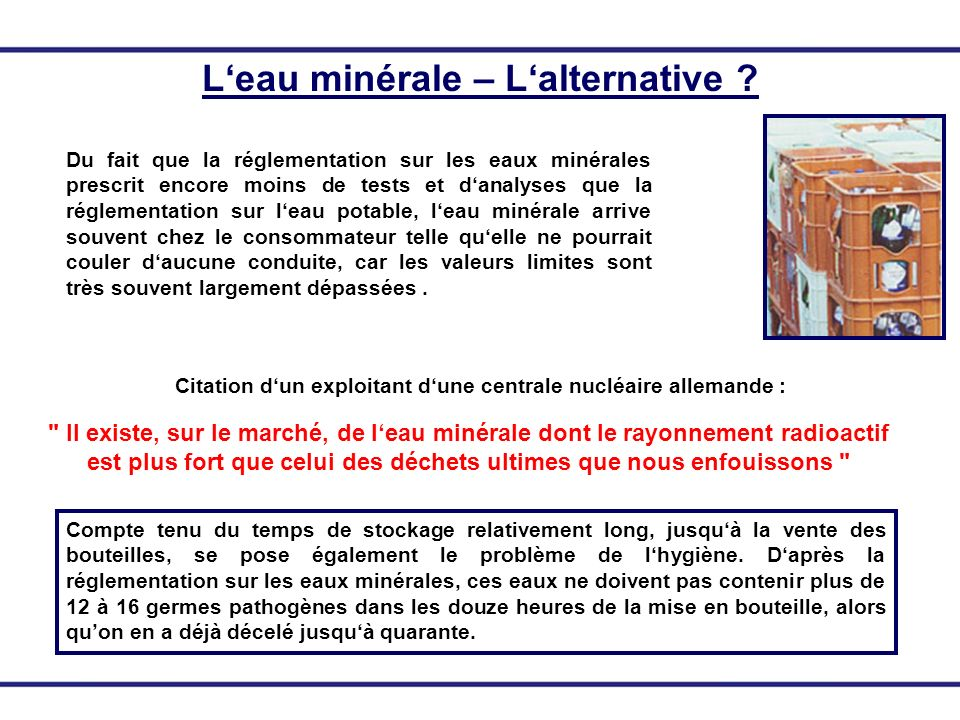 L'eau minérale – L'alternative