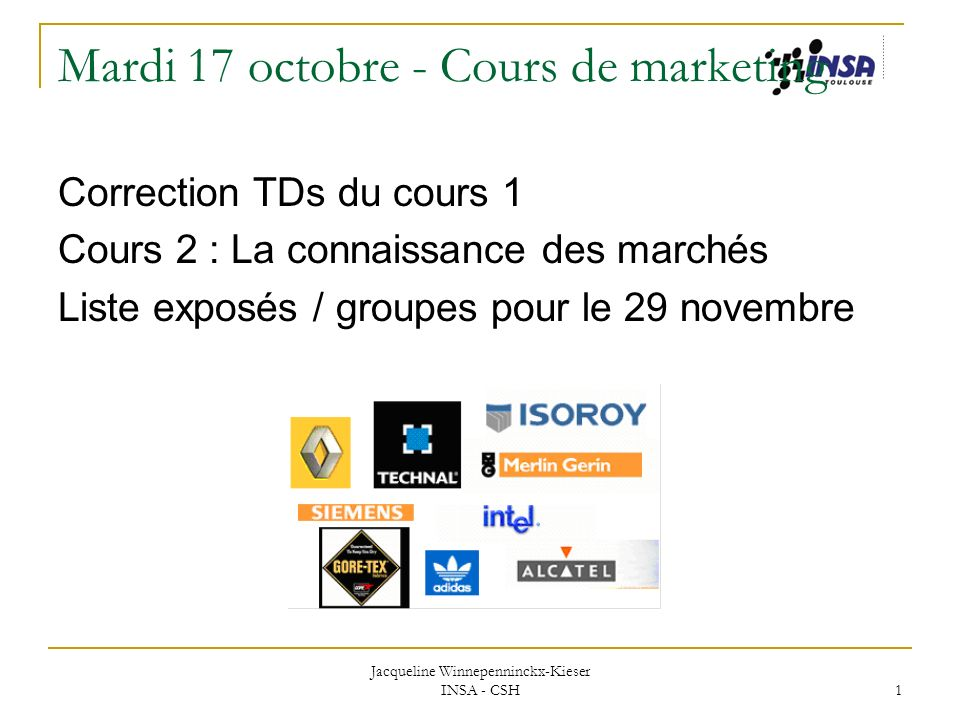 Mardi 17 octobre - Cours de marketing