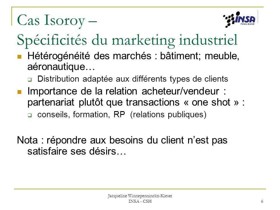 Cas Isoroy – Spécificités du marketing industriel