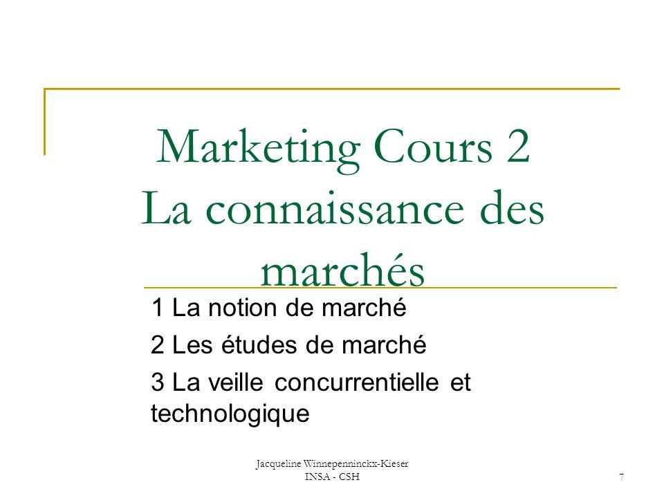 Marketing Cours 2 La connaissance des marchés
