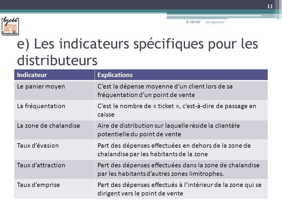e) Les indicateurs spécifiques pour les distributeurs