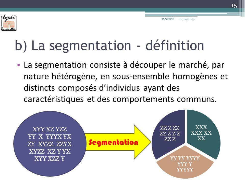 b) La segmentation - définition
