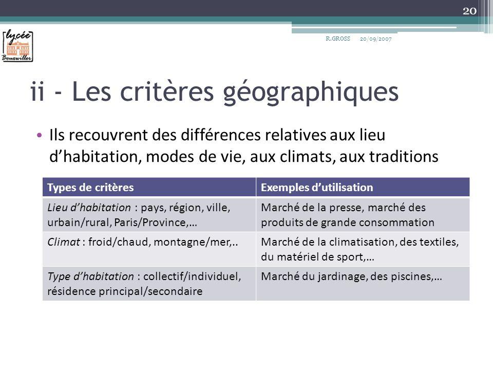 ii - Les critères géographiques
