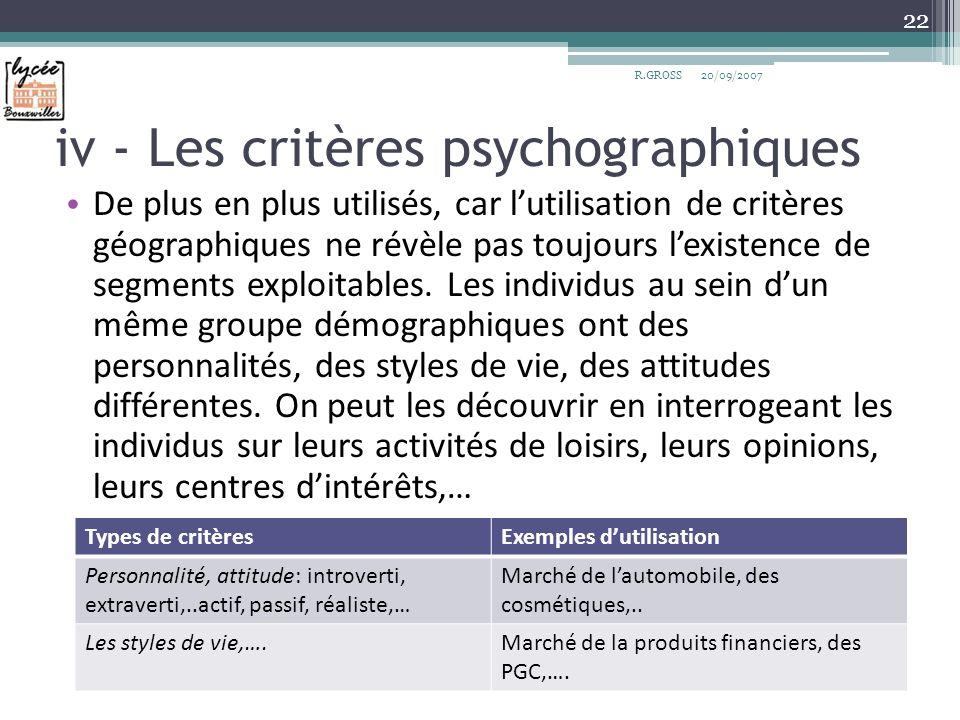 iv - Les critères psychographiques