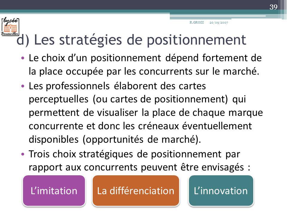 d) Les stratégies de positionnement