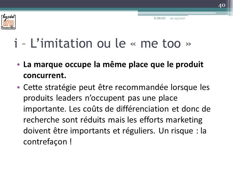 i – L'imitation ou le « me too »