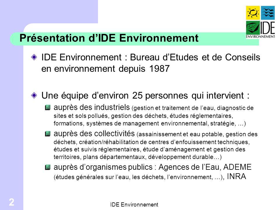 Présentation d'IDE Environnement