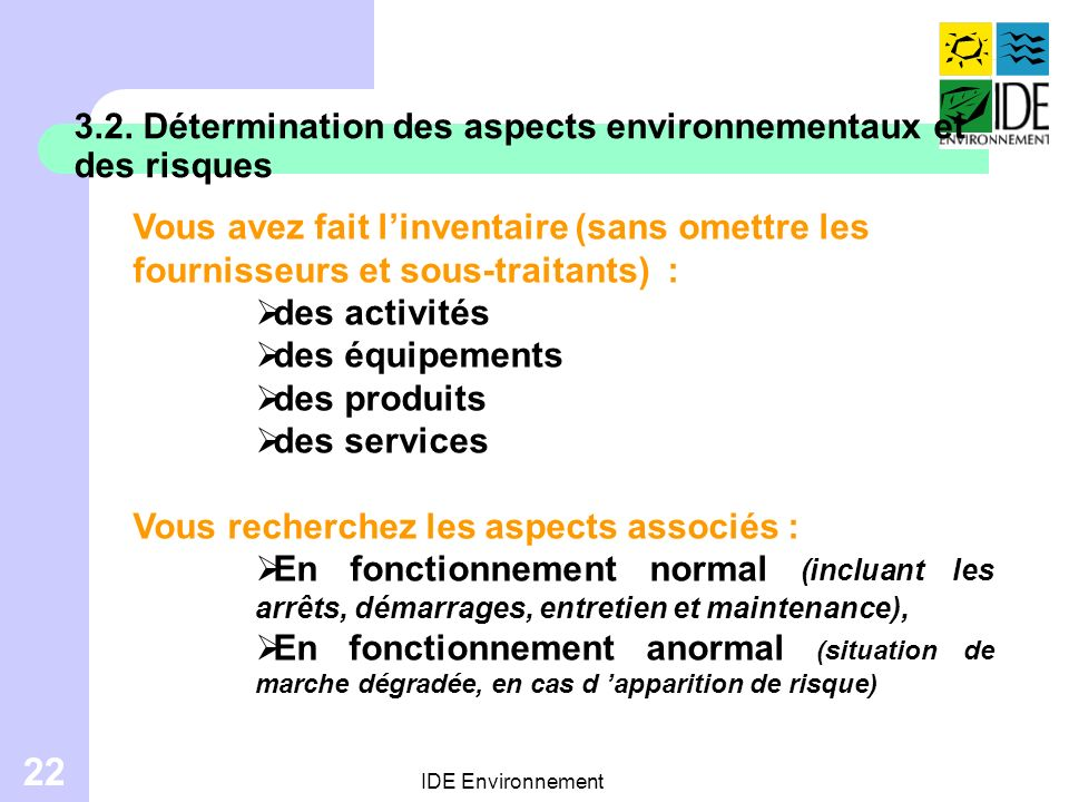 3.2. Détermination des aspects environnementaux et des risques