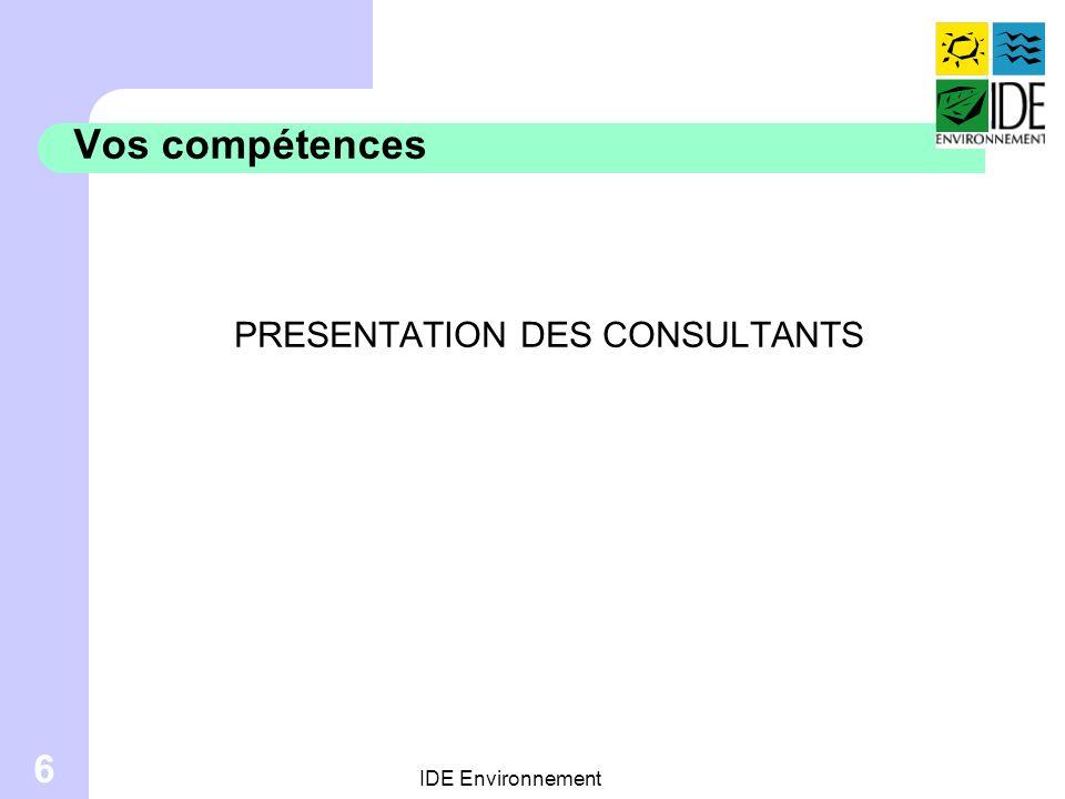 PRESENTATION DES CONSULTANTS