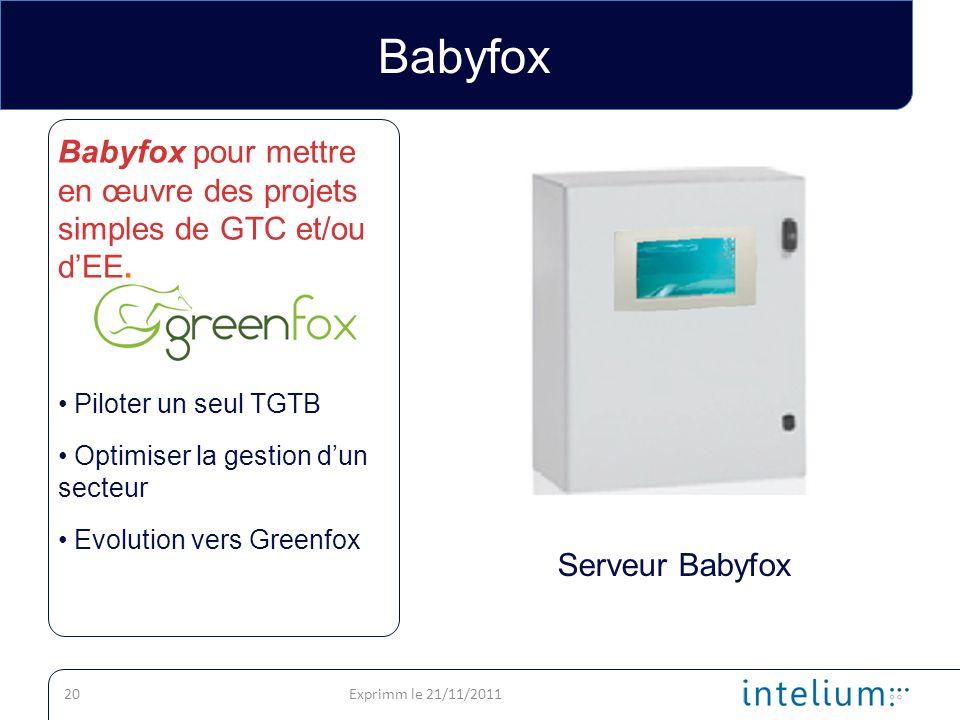 Babyfox Babyfox pour mettre en œuvre des projets simples de GTC et/ou d'EE. Piloter un seul TGTB. Optimiser la gestion d'un secteur.