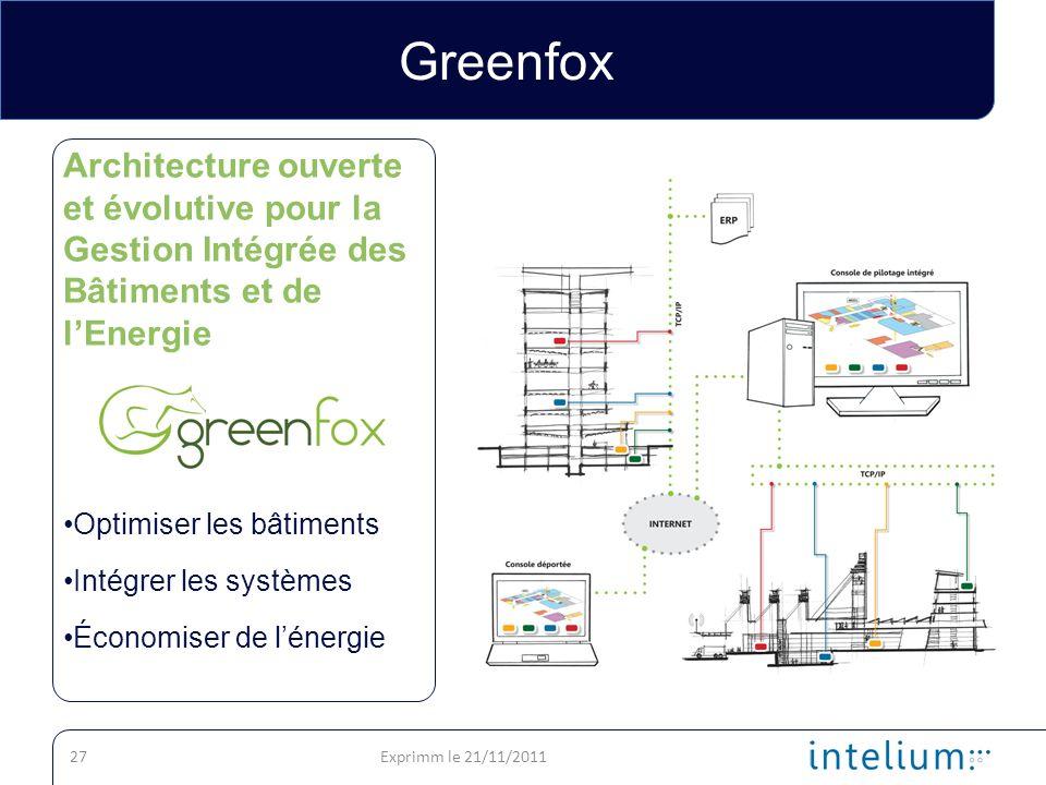 Greenfox Architecture ouverte et évolutive pour la Gestion Intégrée des Bâtiments et de l'Energie. Optimiser les bâtiments.