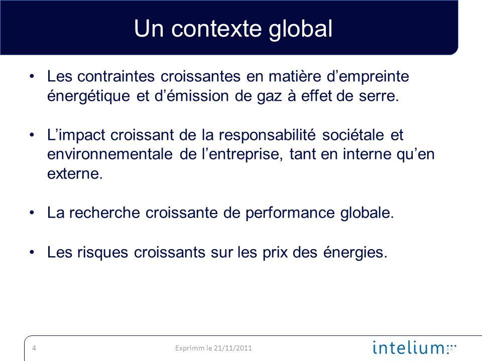 Un contexte global Les contraintes croissantes en matière d'empreinte énergétique et d'émission de gaz à effet de serre.