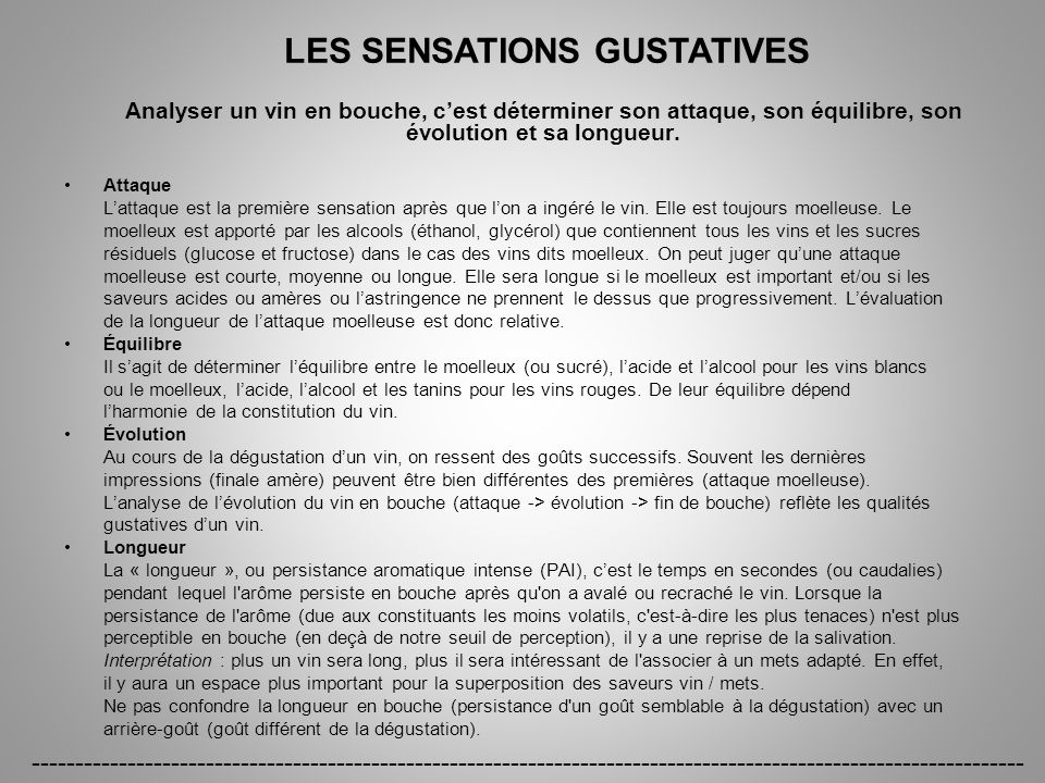 LES SENSATIONS GUSTATIVES