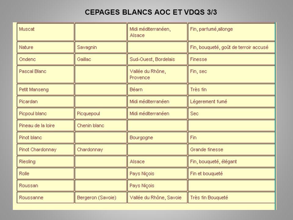CEPAGES BLANCS AOC ET VDQS 3/3