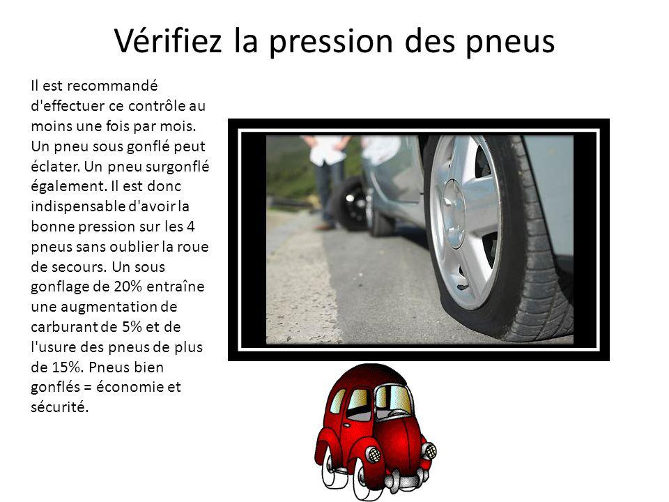 Vérifiez la pression des pneus