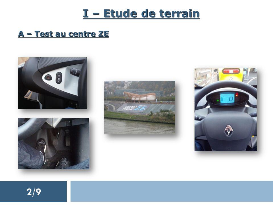 I – Etude de terrain A – Test au centre ZE 2/9