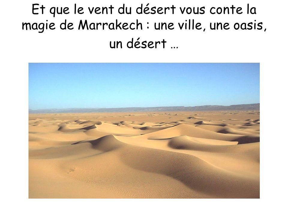 Et que le vent du désert vous conte la magie de Marrakech : une ville, une oasis, un désert …