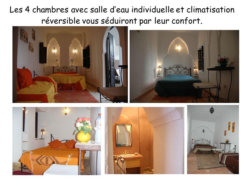 Les 4 chambres avec salle d'eau individuelle et climatisation réversible vous séduiront par leur confort.