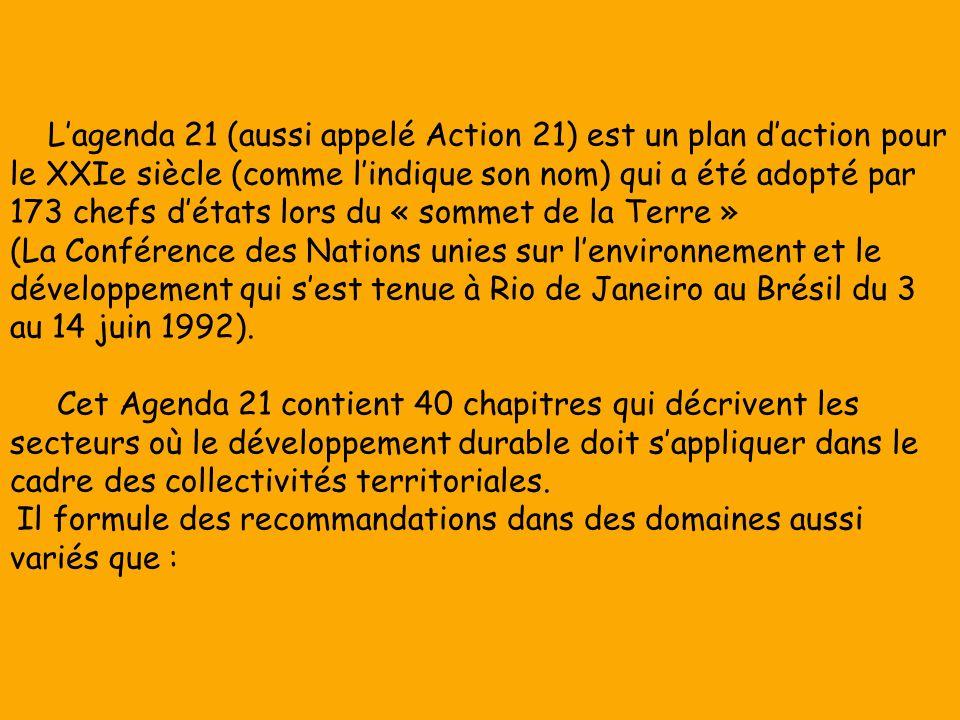 L'agenda 21 (aussi appelé Action 21) est un plan d'action pour le XXIe siècle (comme l'indique son nom) qui a été adopté par 173 chefs d'états lors du « sommet de la Terre » (La Conférence des Nations unies sur l'environnement et le développement qui s'est tenue à Rio de Janeiro au Brésil du 3 au 14 juin 1992).