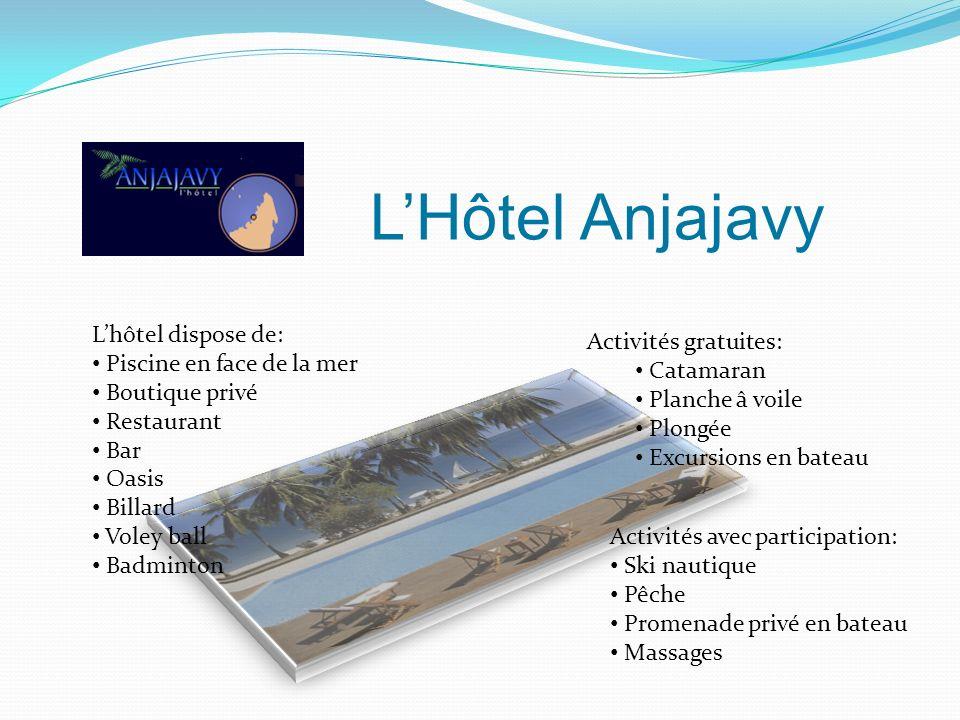 L'Hôtel Anjajavy L'hôtel dispose de: Activités gratuites: