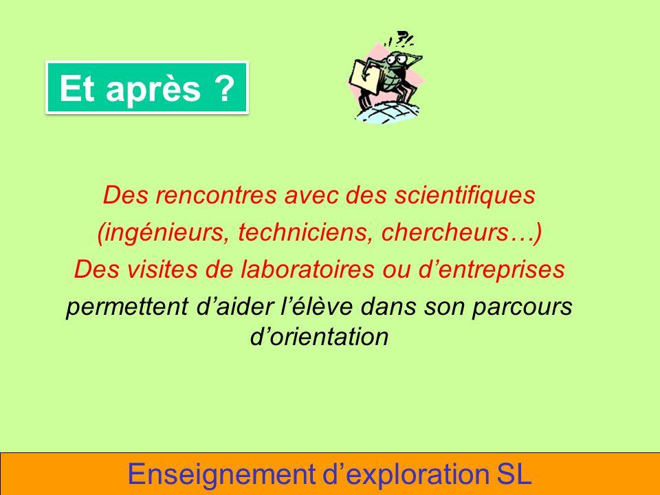 Et après Enseignement d'exploration SL