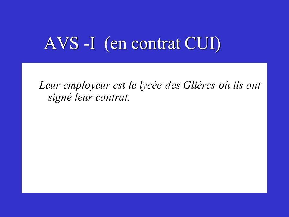 AVS -I (en contrat CUI) Leur employeur est le lycée des Glières où ils ont signé leur contrat.