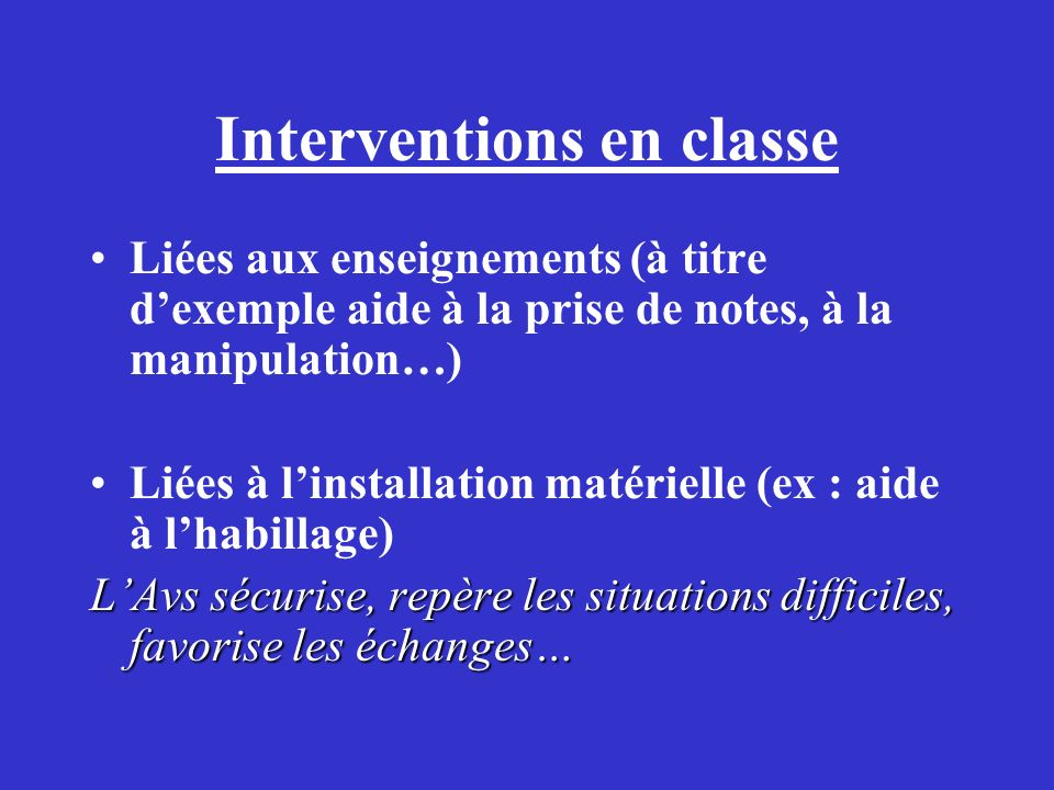 Interventions en classe