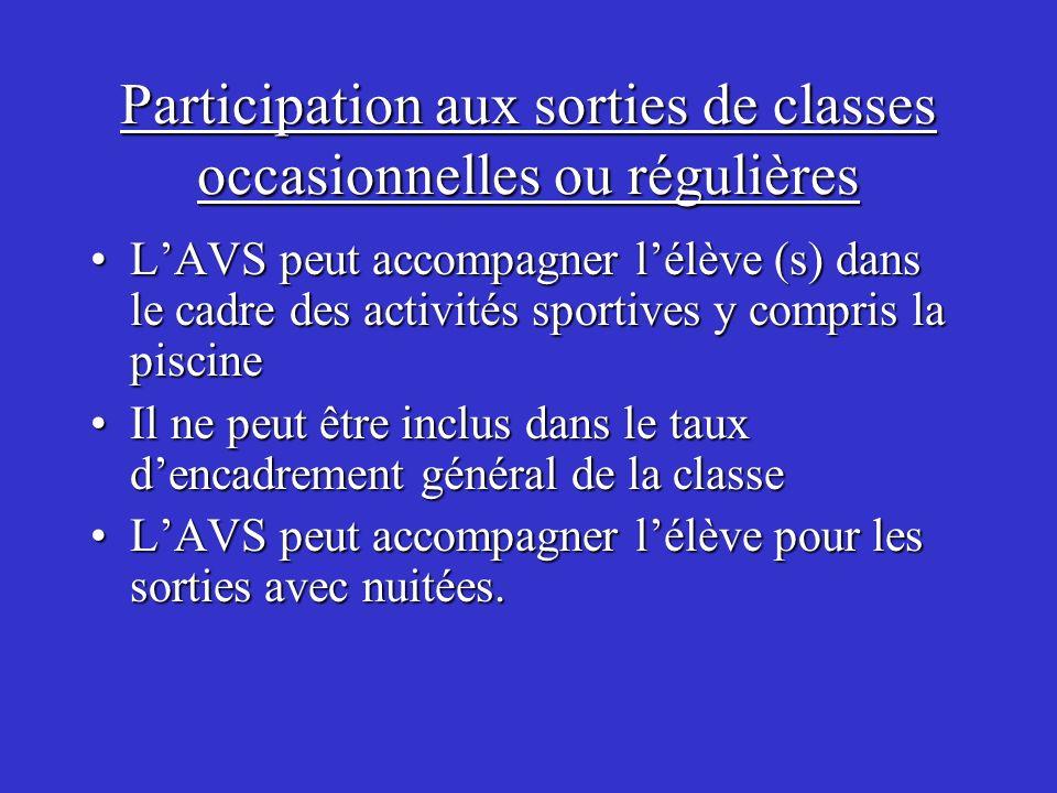 Participation aux sorties de classes occasionnelles ou régulières