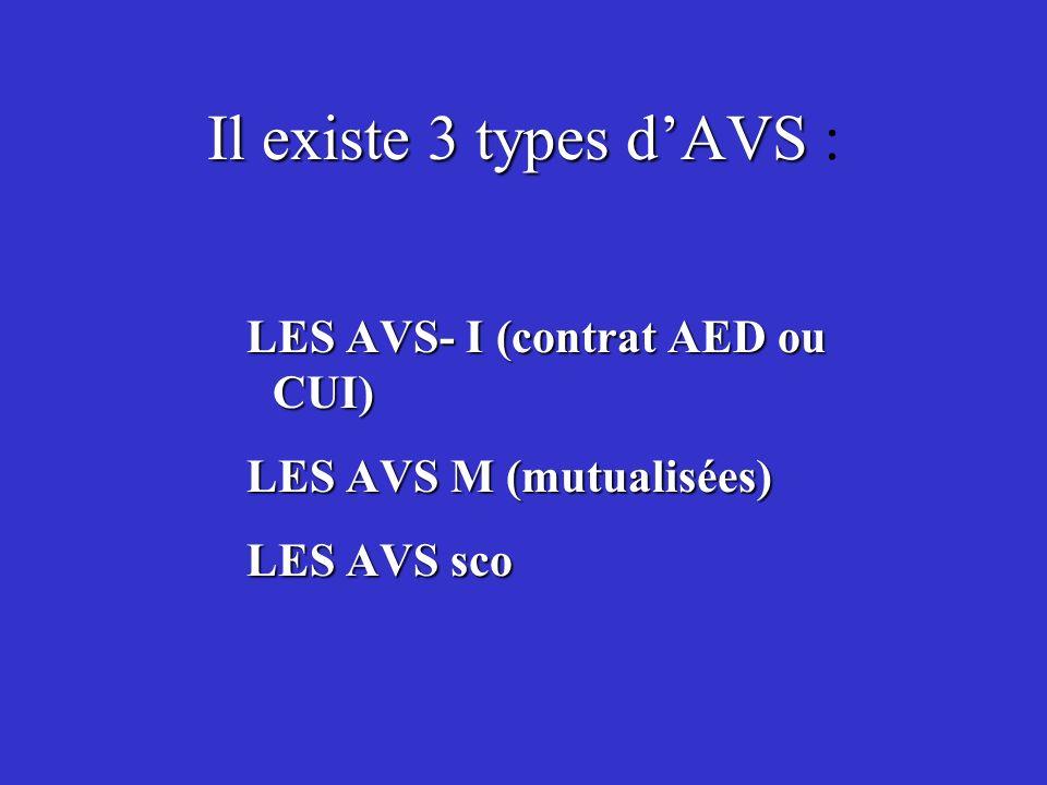 Il existe 3 types d'AVS : LES AVS- I (contrat AED ou CUI)