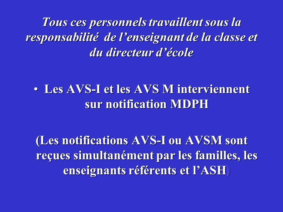Les AVS-I et les AVS M interviennent sur notification MDPH