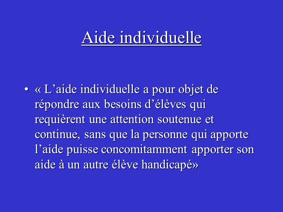 Aide individuelle