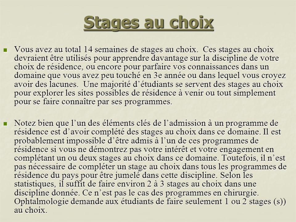 Stages au choix