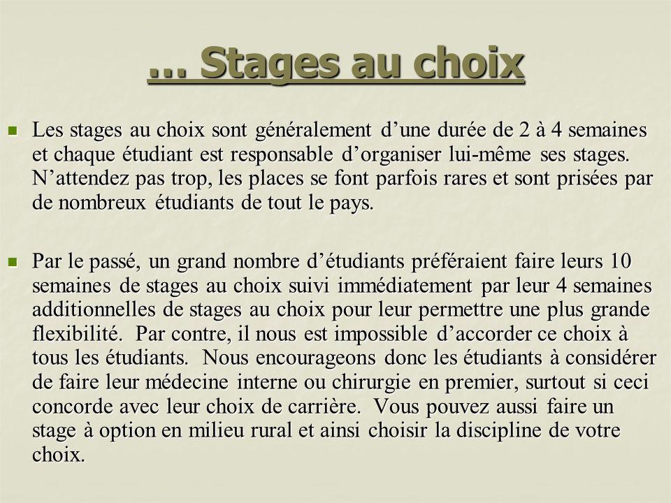 … Stages au choix