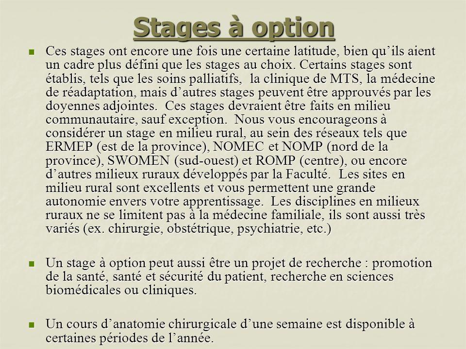 Stages à option