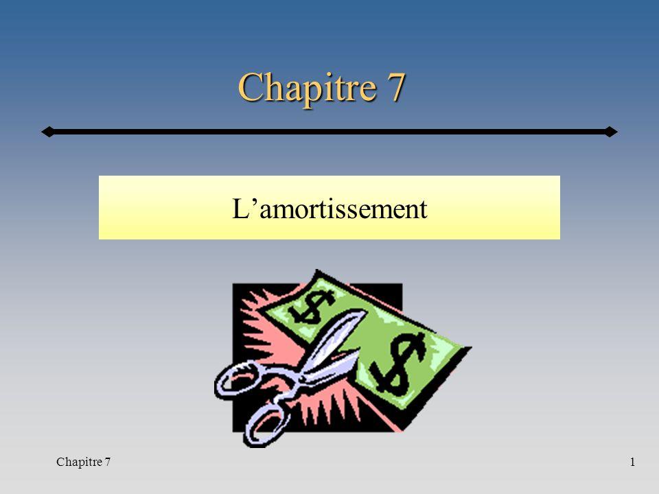 Chapitre 7 L'amortissement Début du cours 20 (hiver 2002) Chapitre 7