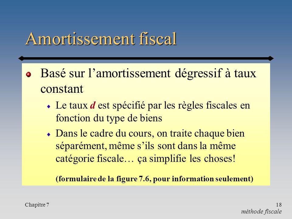 Amortissement fiscal Basé sur l'amortissement dégressif à taux constant. Le taux d est spécifié par les règles fiscales en fonction du type de biens.