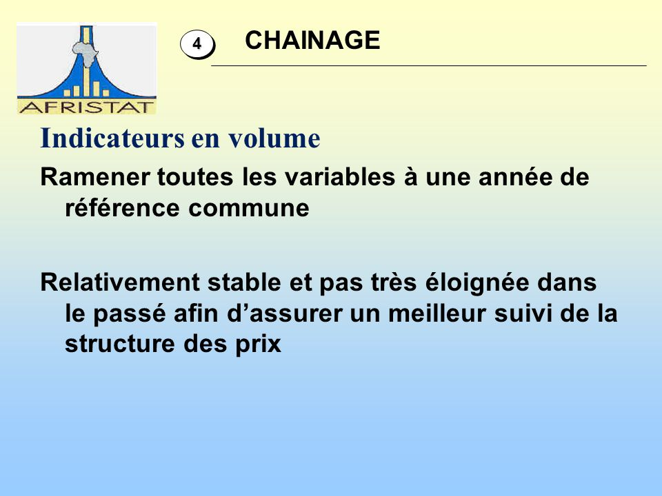 Indicateurs en volume CHAINAGE