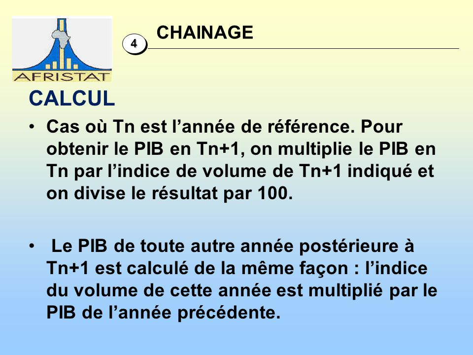 CHAINAGE 4. CALCUL.