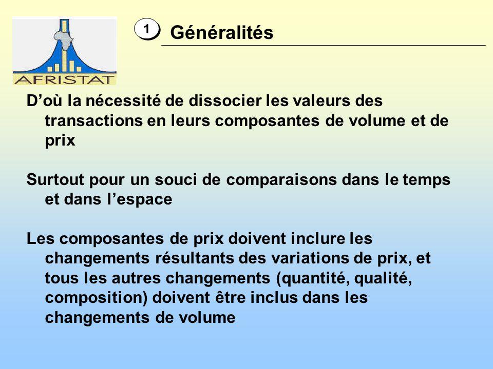 1 Généralités. D'où la nécessité de dissocier les valeurs des transactions en leurs composantes de volume et de prix