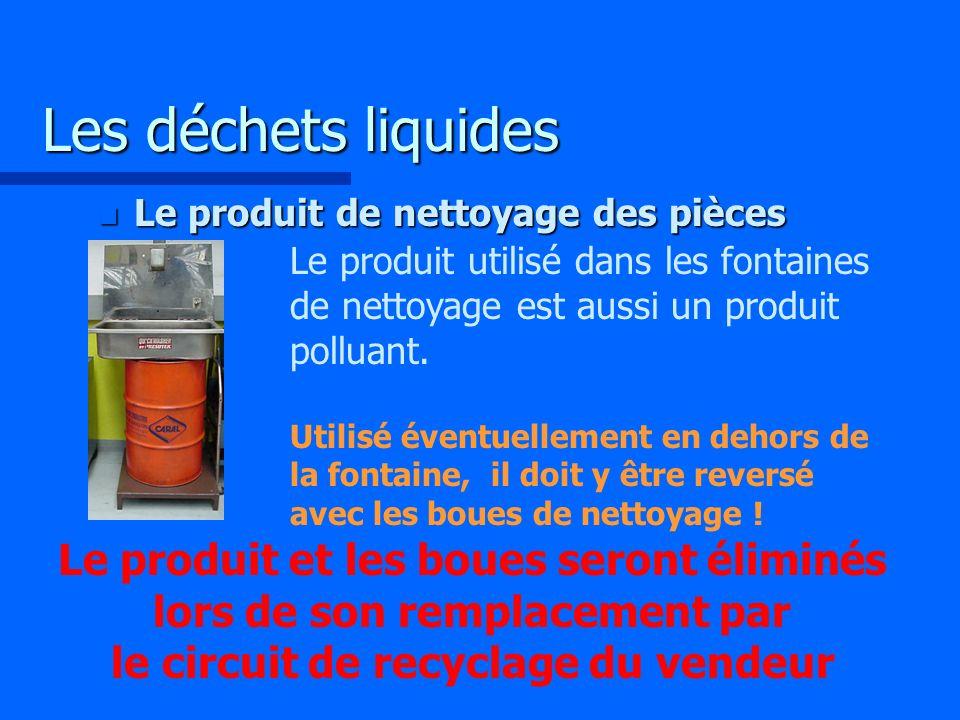 Les déchets liquides Le produit de nettoyage des pièces.