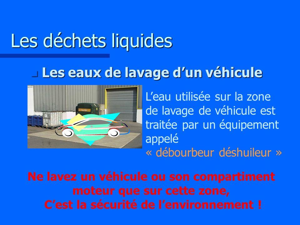 Les déchets liquides Les eaux de lavage d'un véhicule