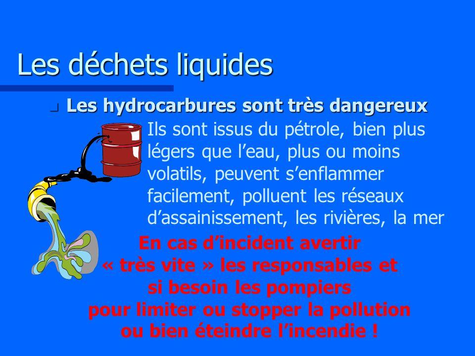 Les déchets liquides Les hydrocarbures sont très dangereux