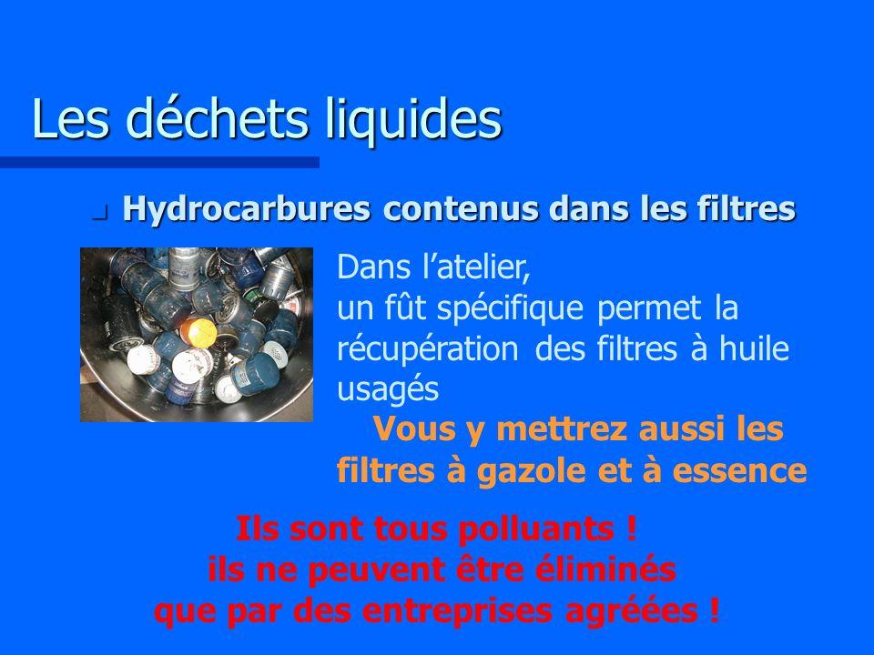 Les déchets liquides Hydrocarbures contenus dans les filtres