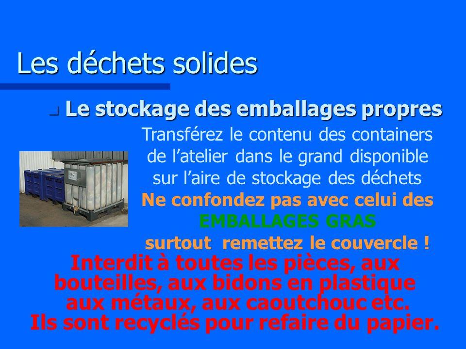 Les déchets solides Le stockage des emballages propres