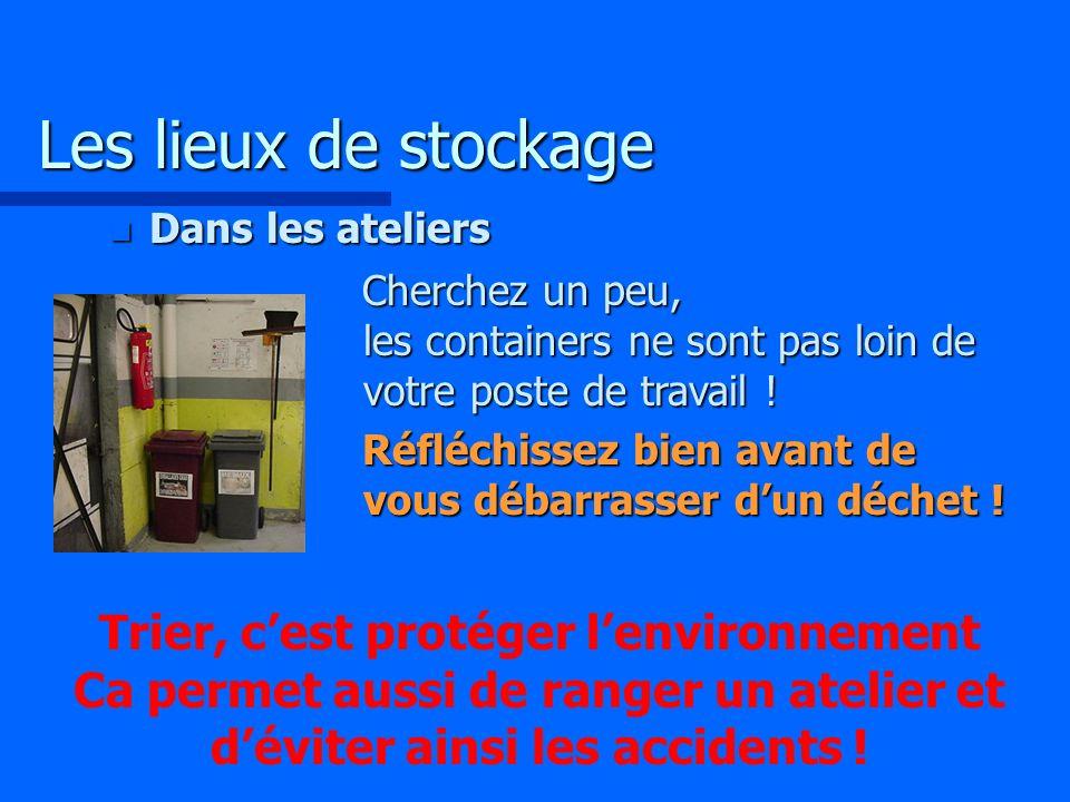 Les lieux de stockage Dans les ateliers. Cherchez un peu, les containers ne sont pas loin de votre poste de travail !