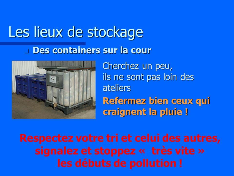 Les lieux de stockage Des containers sur la cour. Cherchez un peu, ils ne sont pas loin des ateliers.