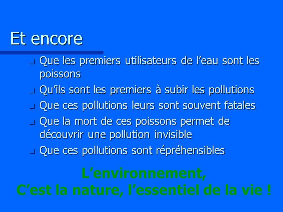 L'environnement, C'est la nature, l'essentiel de la vie !