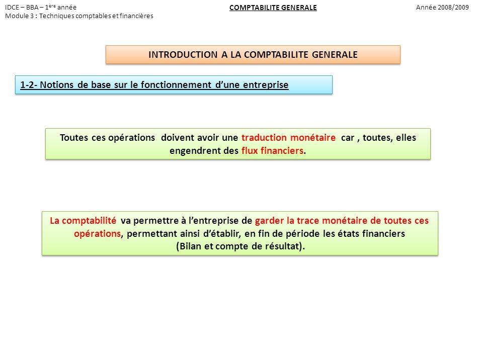 INTRODUCTION A LA COMPTABILITE GENERALE