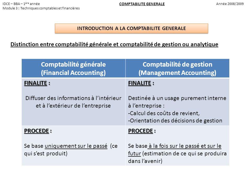 Comptabilité générale (Financial Accounting) Comptabilité de gestion